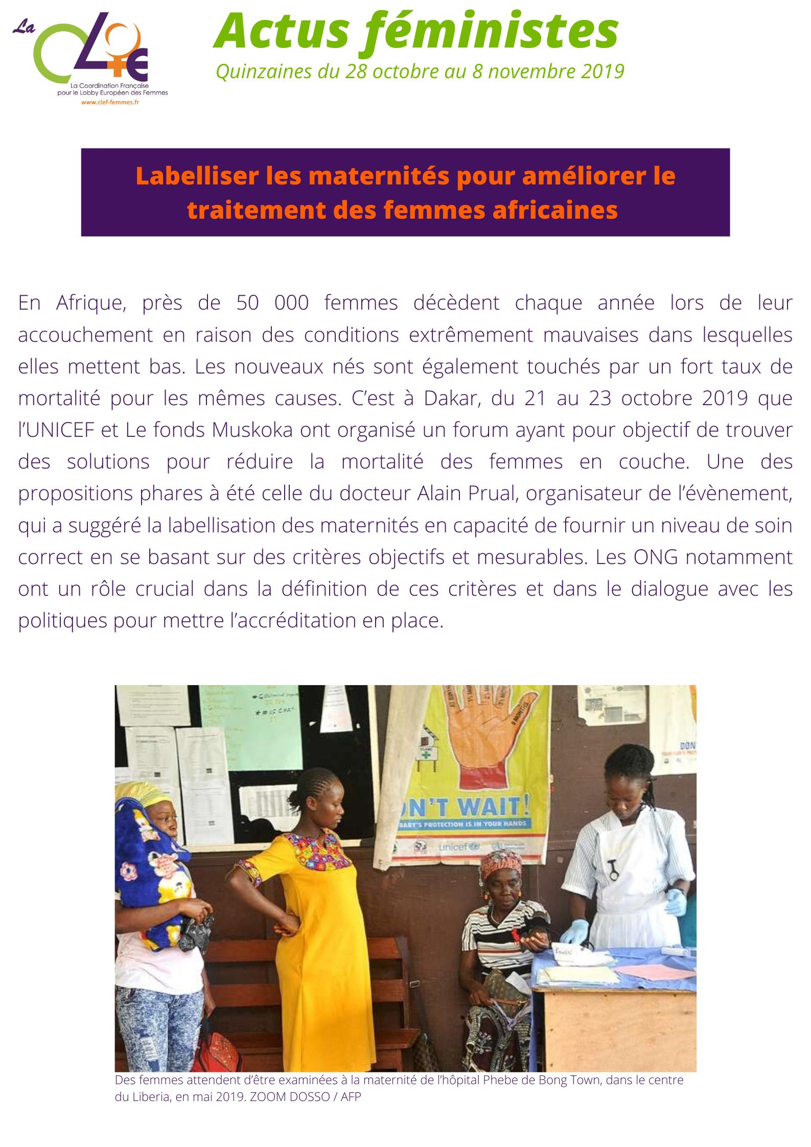 Labelliser les maternités - quinzaine 28.10-08.11-2019